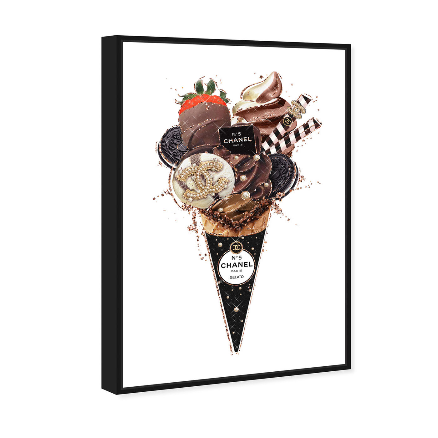Angled view of Black Oreo Gelato featuring fashion and glam and fashion lifestyle art.