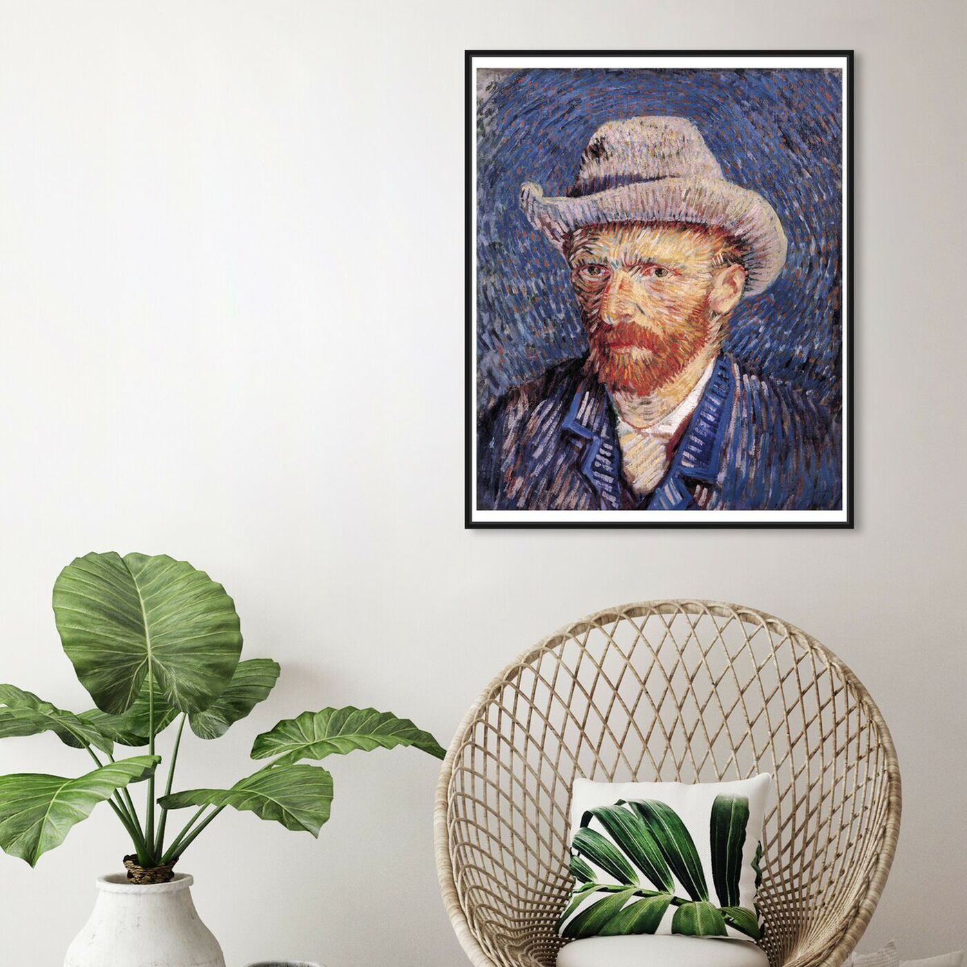 Hanging view of Van Gogh - Self Portrait with Felt featuring classic and figurative and impressionism art.