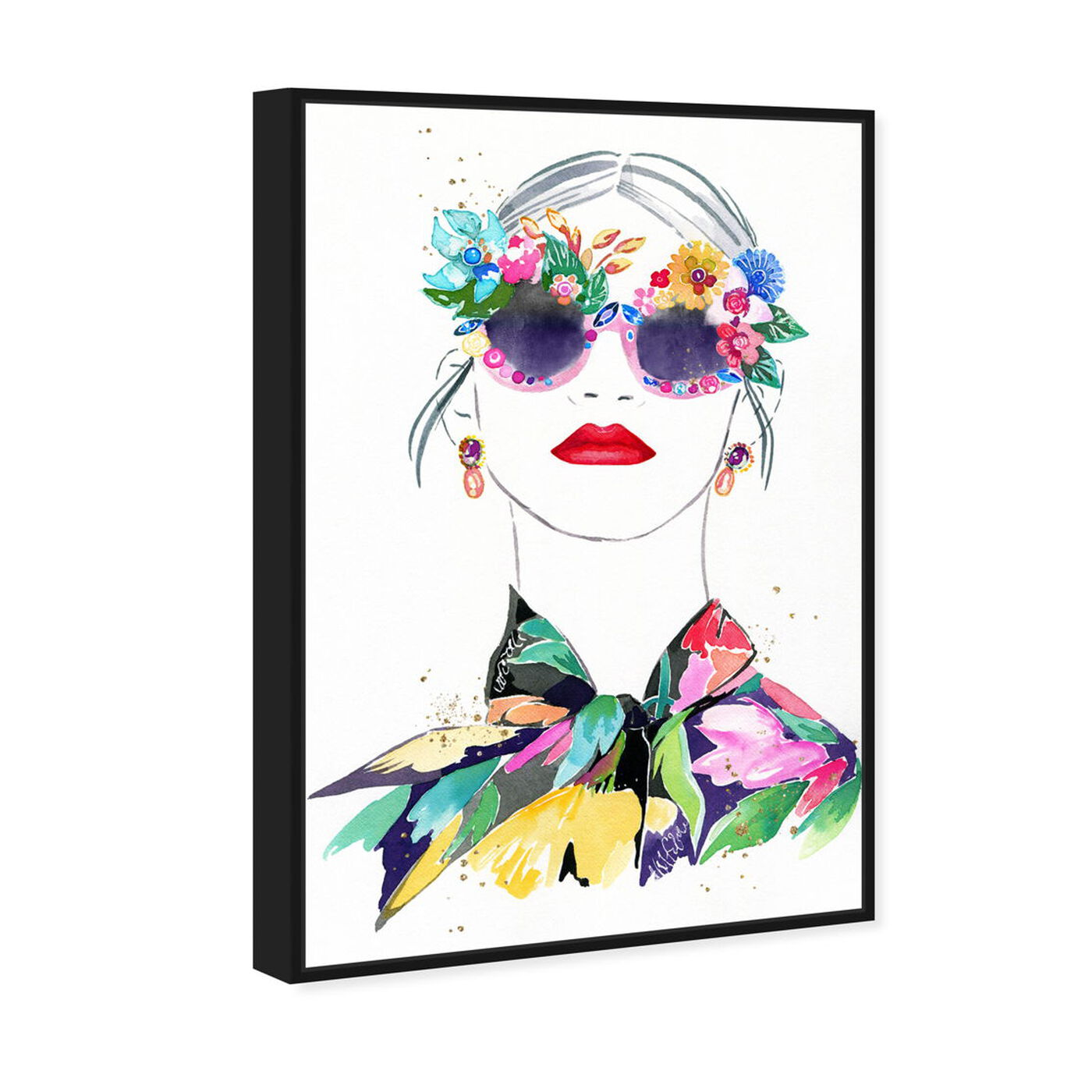 Angled view of Botanical Blouse featuring fashion and glam and portraits art.