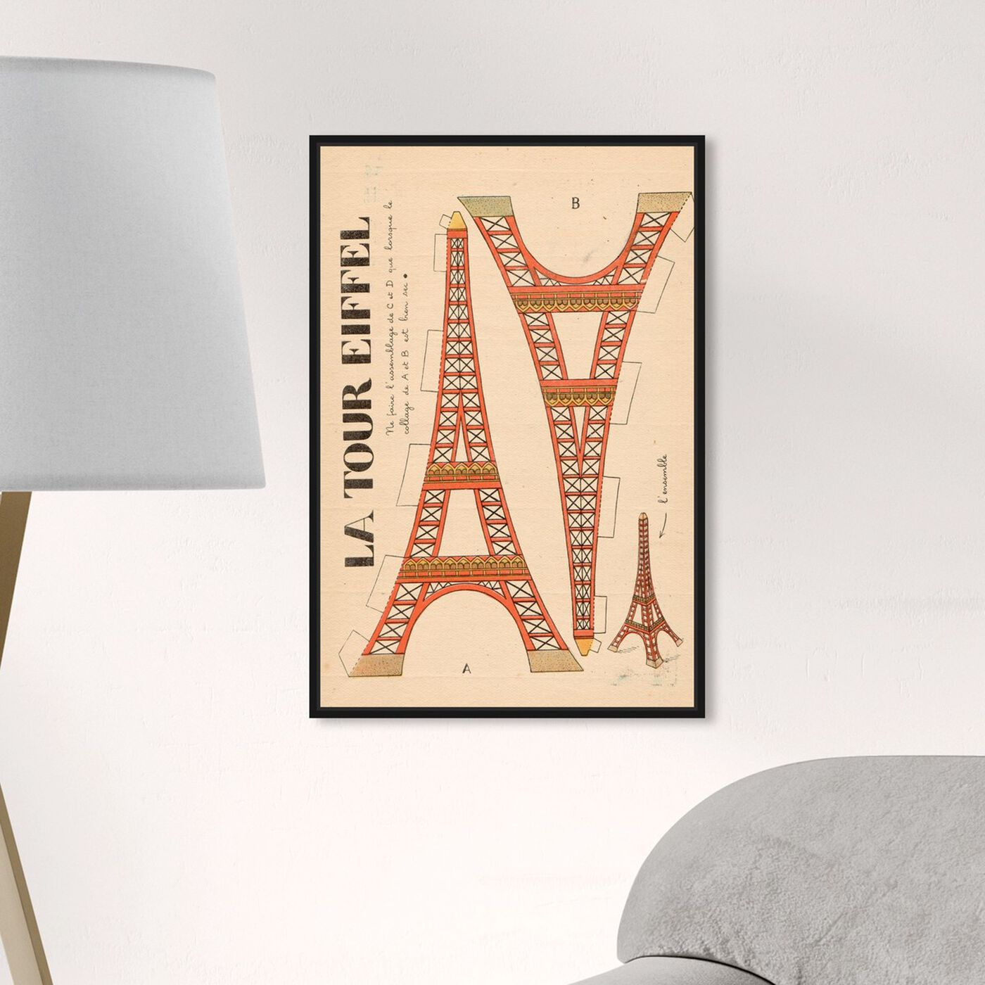 Hanging view of La Tour Eiffel featuring advertising and posters art.