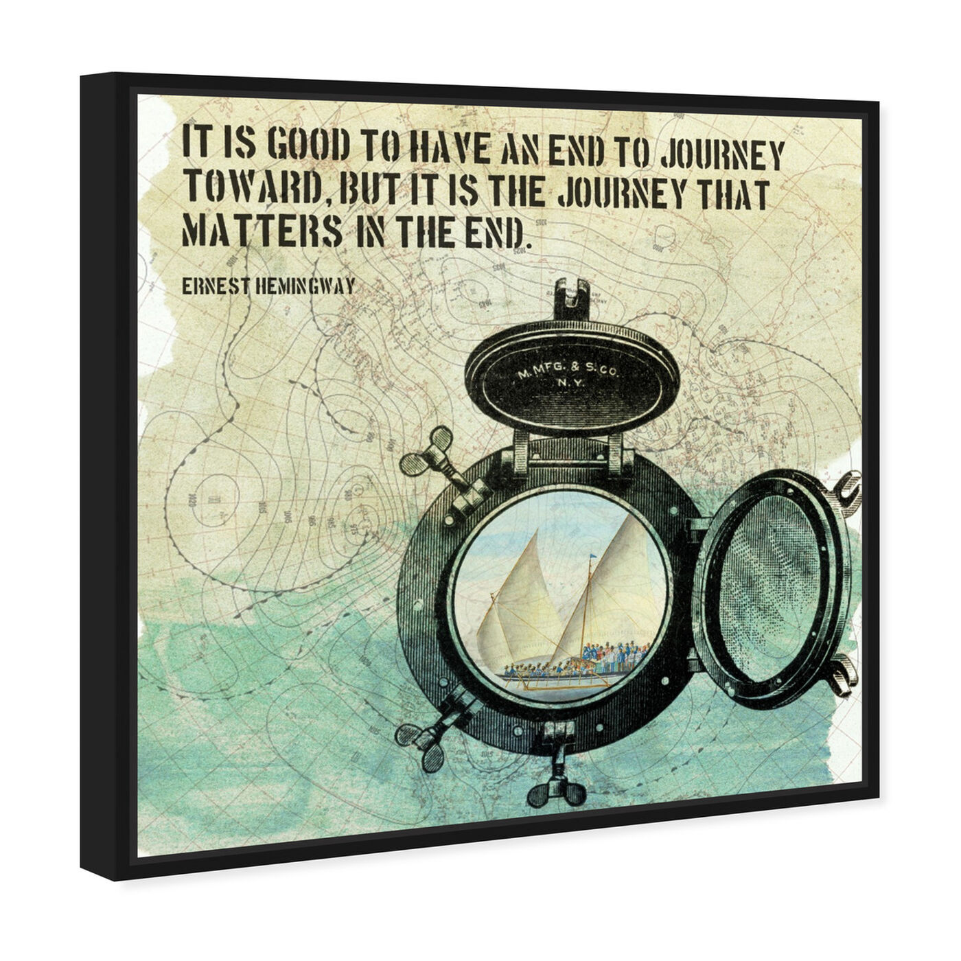 Angled view of The Journey featuring typography and quotes and inspirational quotes and sayings art.