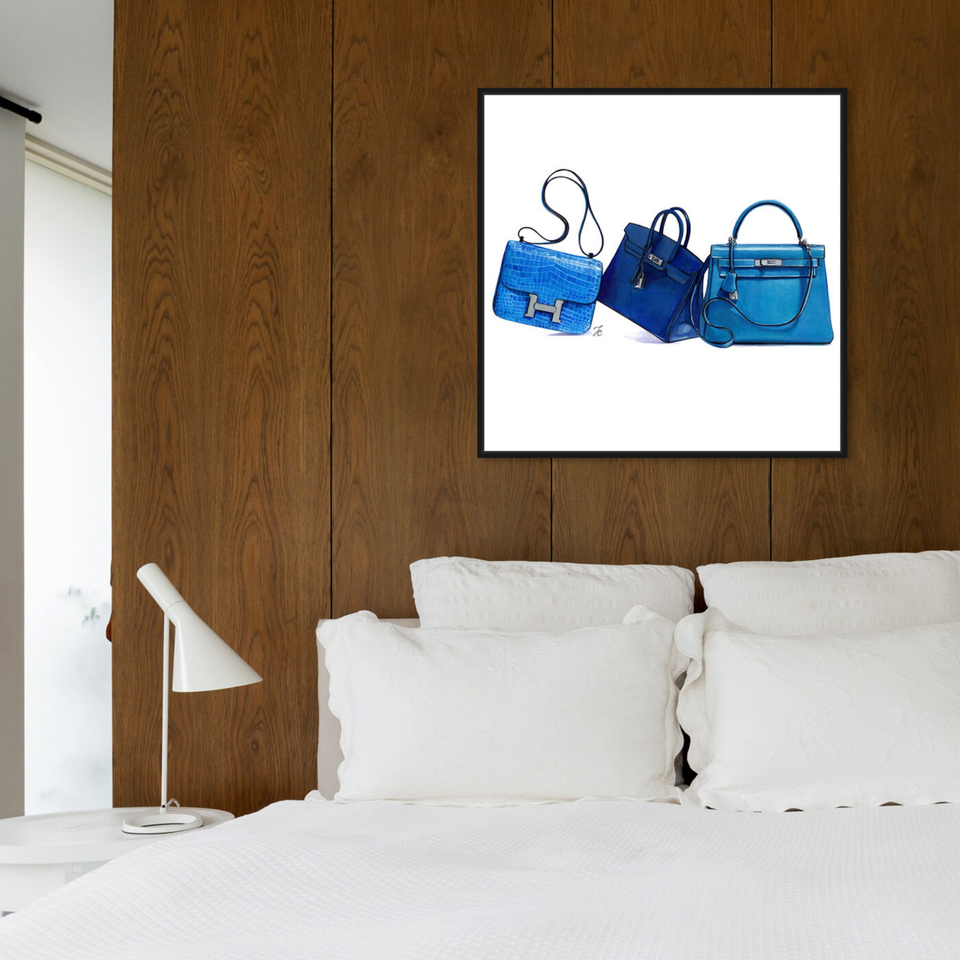 Hanging view of Doll Memories - Blue Shades II featuring fashion and glam and handbags art.