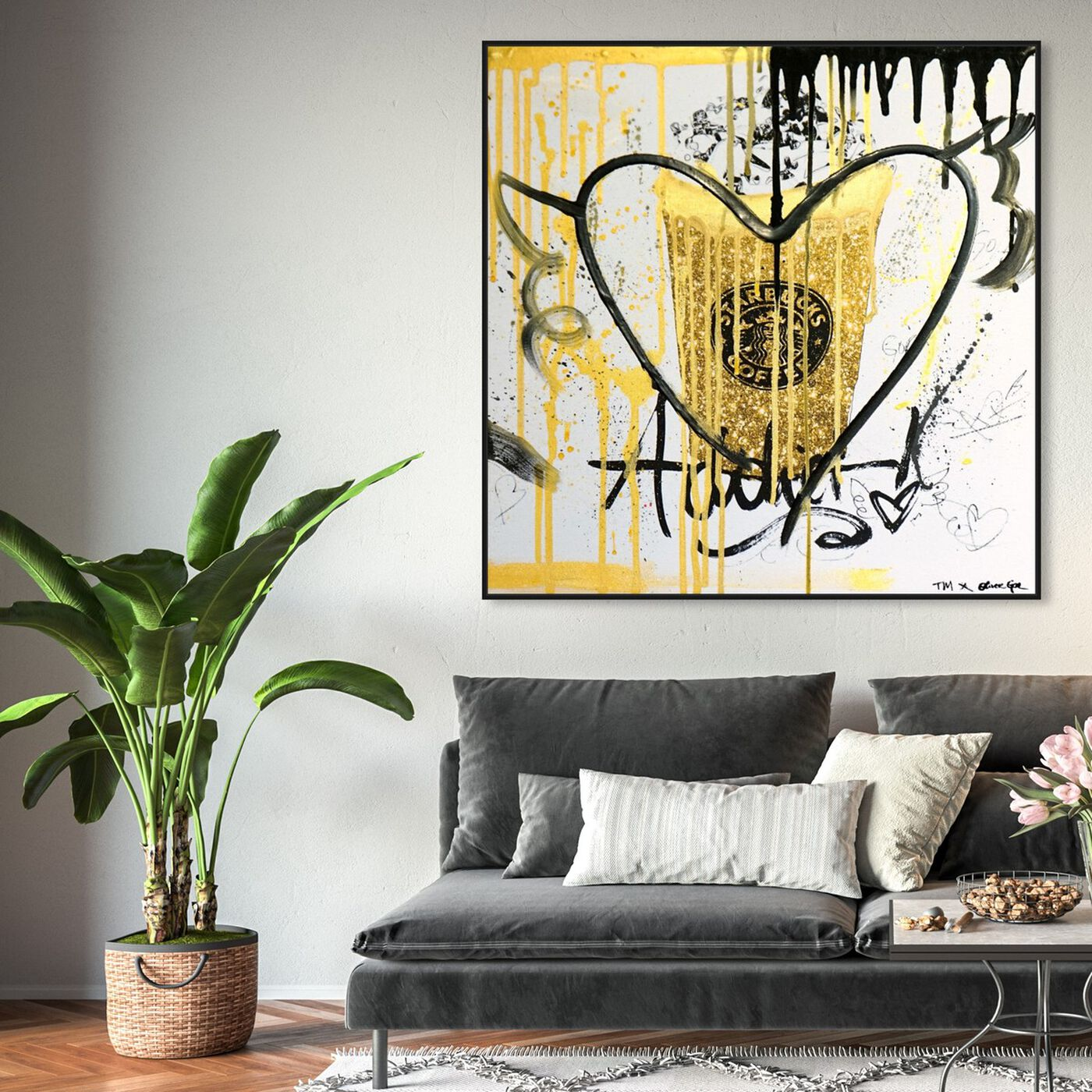 Hanging view of Coffee Fuel Remix featuring drinks and spirits and coffee art.