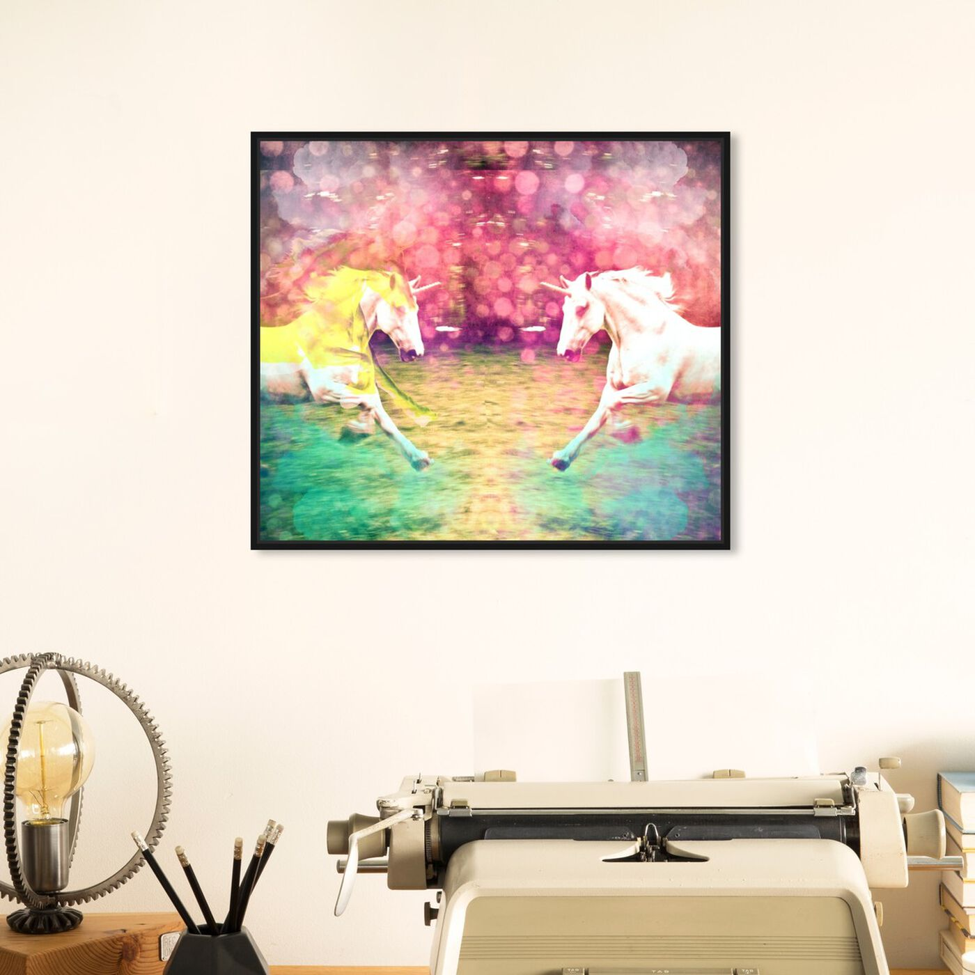 Hanging view of Unicorns Dusk featuring fantasy and sci-fi and fantasy creatures art.