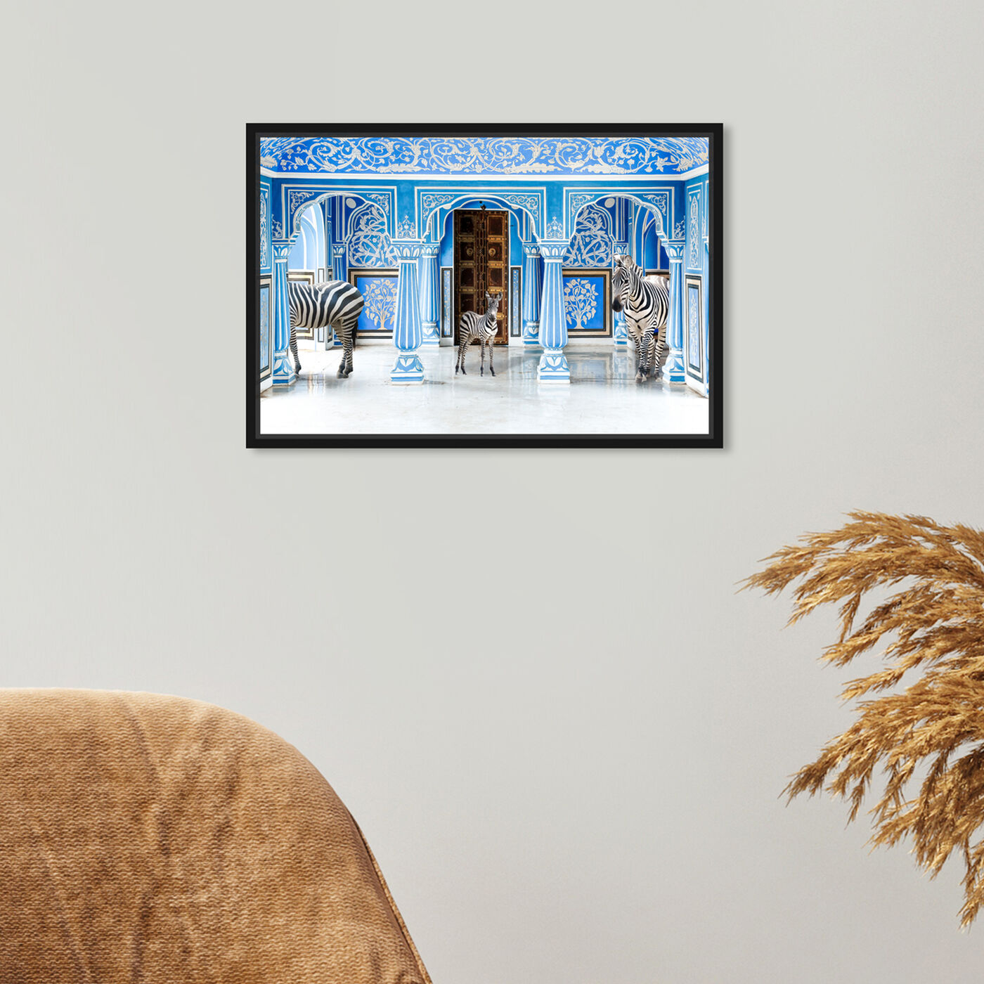 Hanging view of Zebra Blues featuring animals and zoo and wild animals art.