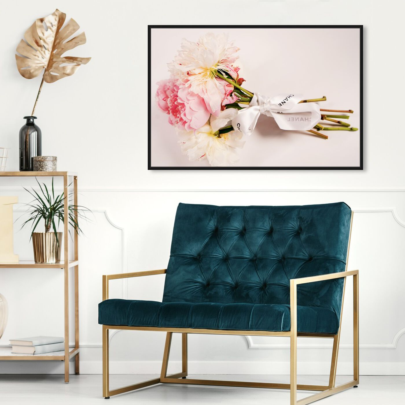 Hanging view of Bouquet of Peonies featuring floral and botanical and florals art.