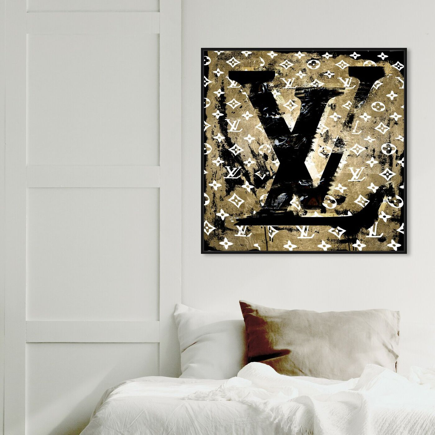 Hanging view of Gold Tag featuring fashion and glam and road signs art.