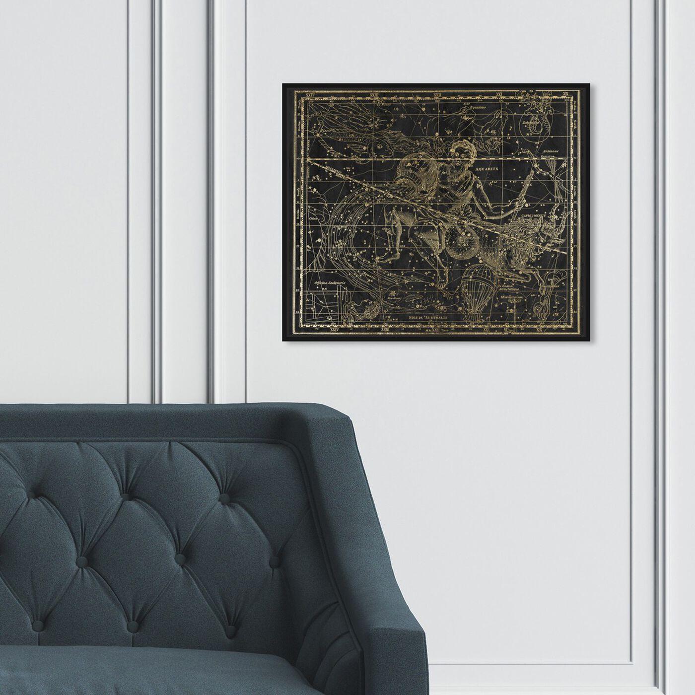 Hanging view of Aquarius and Capricornius featuring spiritual and religious and zodiac art.
