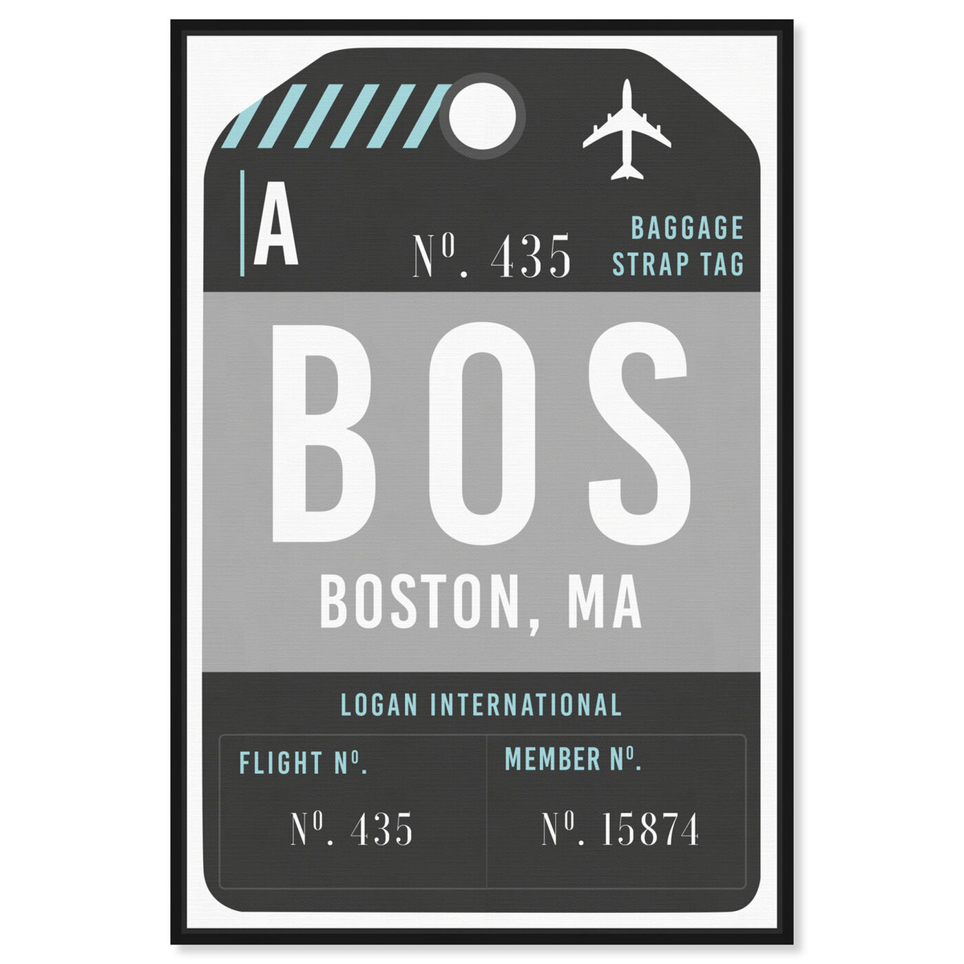 Front view of Boston Luggage Tag featuring cities and skylines and united states cities art.