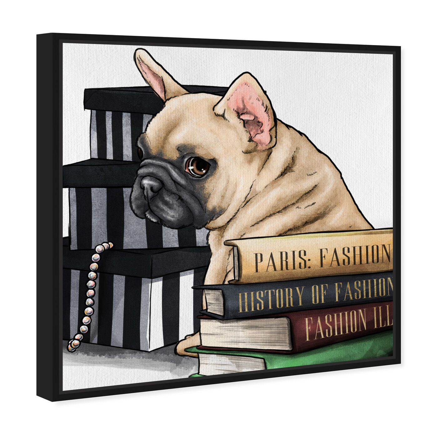 Angled view of Fashion Books Frenchie featuring animals and dogs and puppies art.