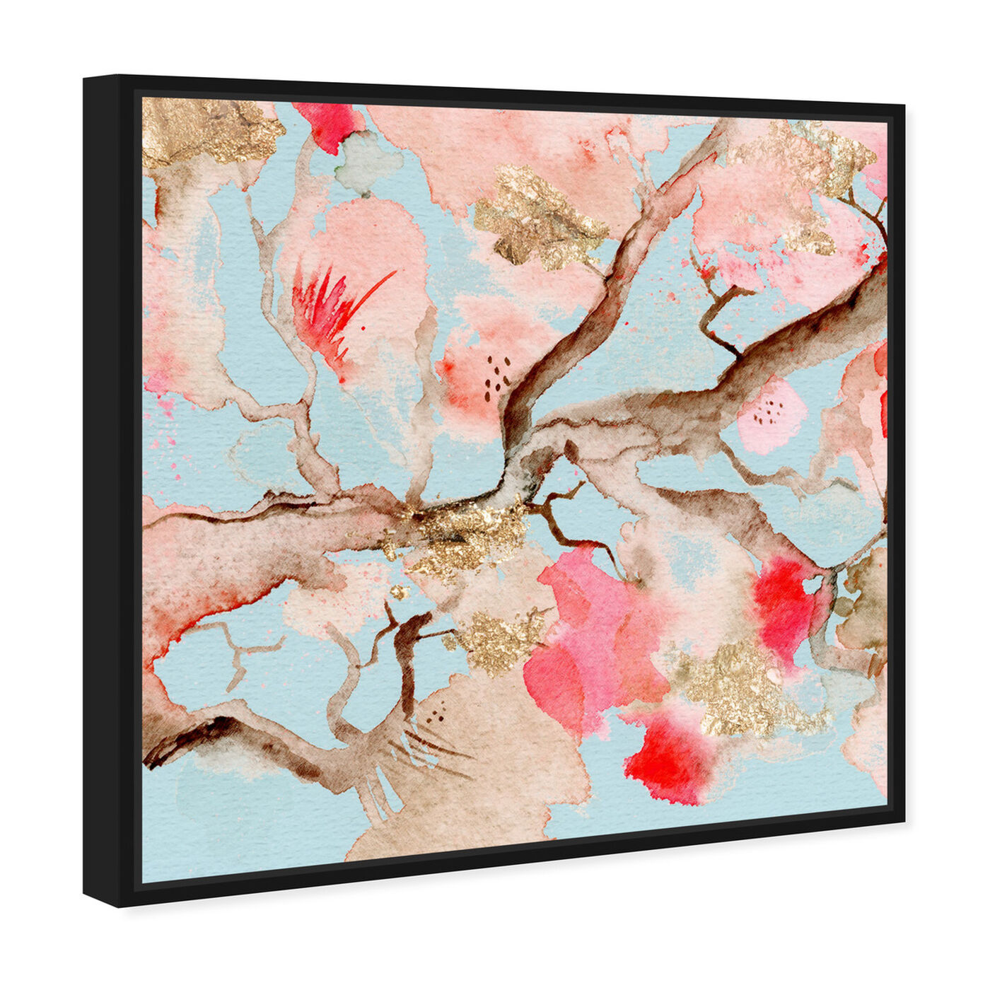Angled view of Under The Blossoms and Sky featuring floral and botanical and florals art.