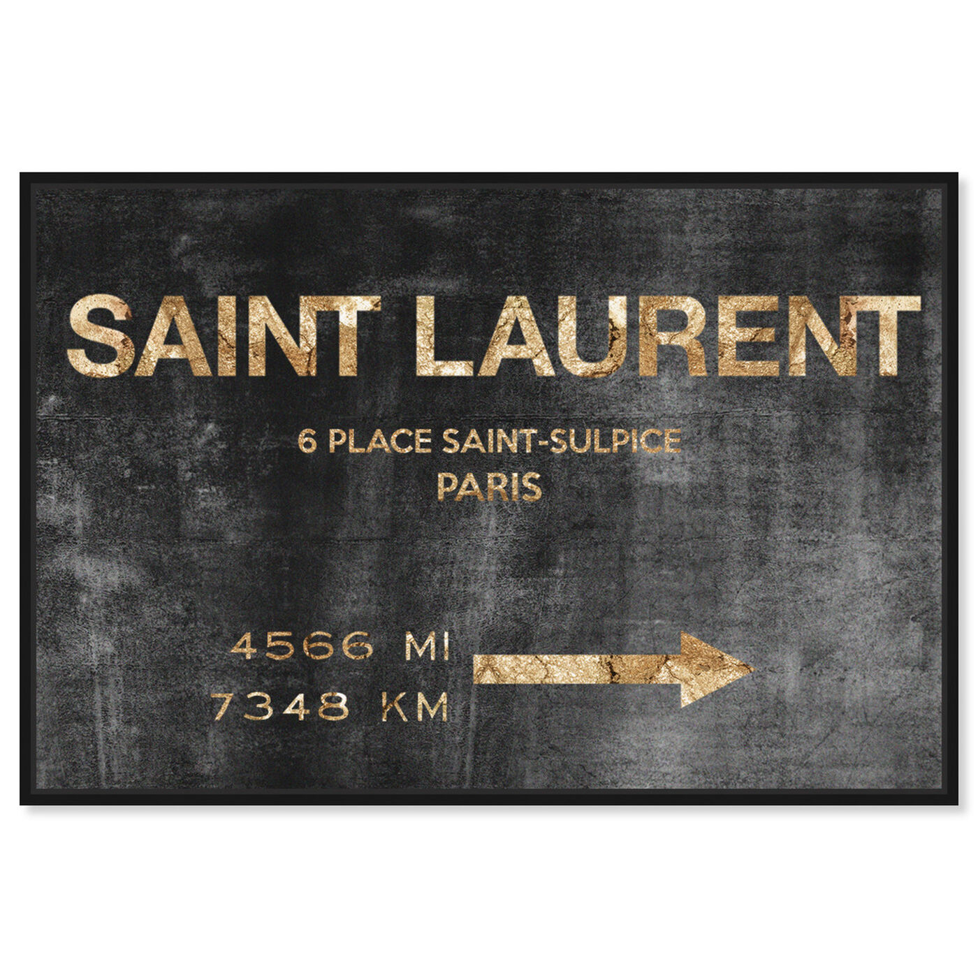 Front view of Saint Sulpice Road Sign featuring fashion and glam and road signs art.
