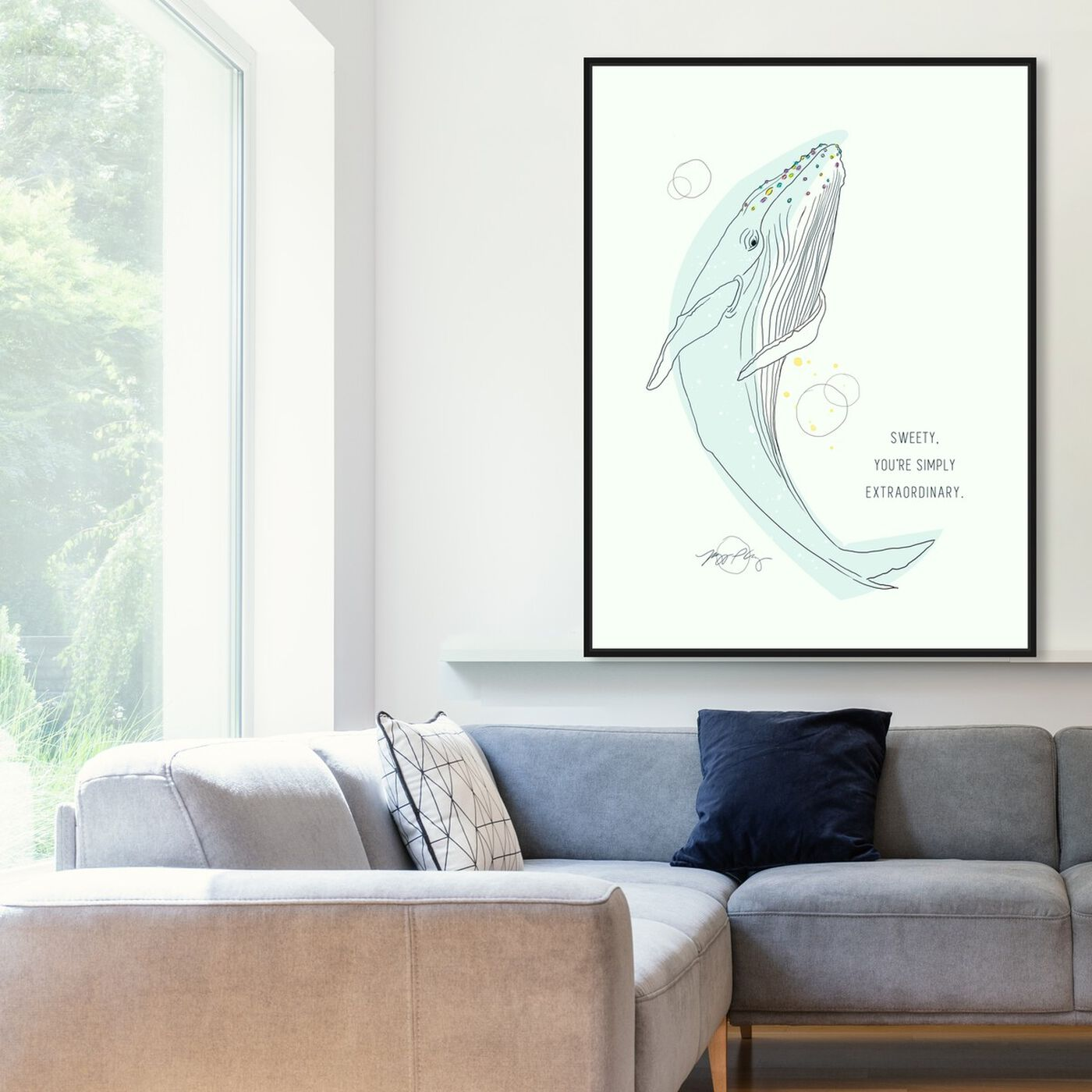 Hanging view of Whale Calling by Maggie P. Chang featuring animals and sea animals art.