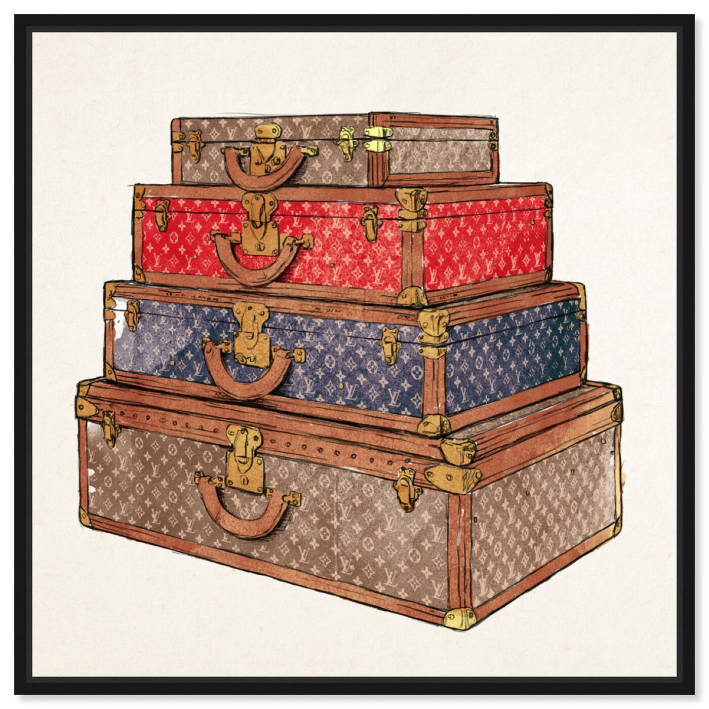 Front view of The Royal Luggage featuring fashion and glam and travel essentials art.