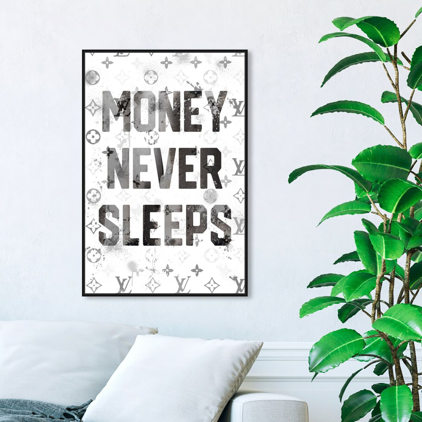 Hanging view of Money Never Sleeps featuring typography and quotes and motivational quotes and sayings art.