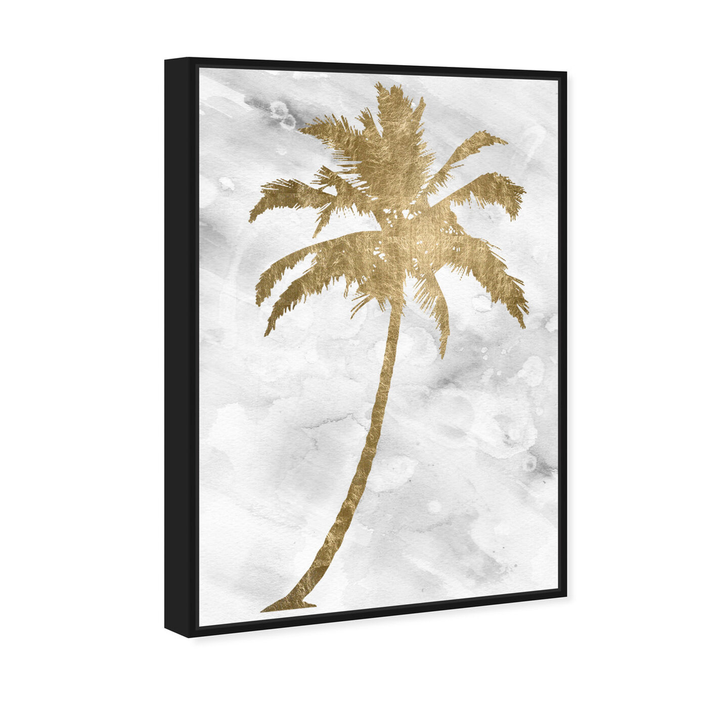 Angled view of Palm Tree Gold featuring floral and botanical and trees art.