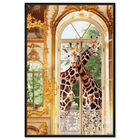 Front view of Giraffes Joined For Breakfast featuring animals and zoo and wild animals art. image number null