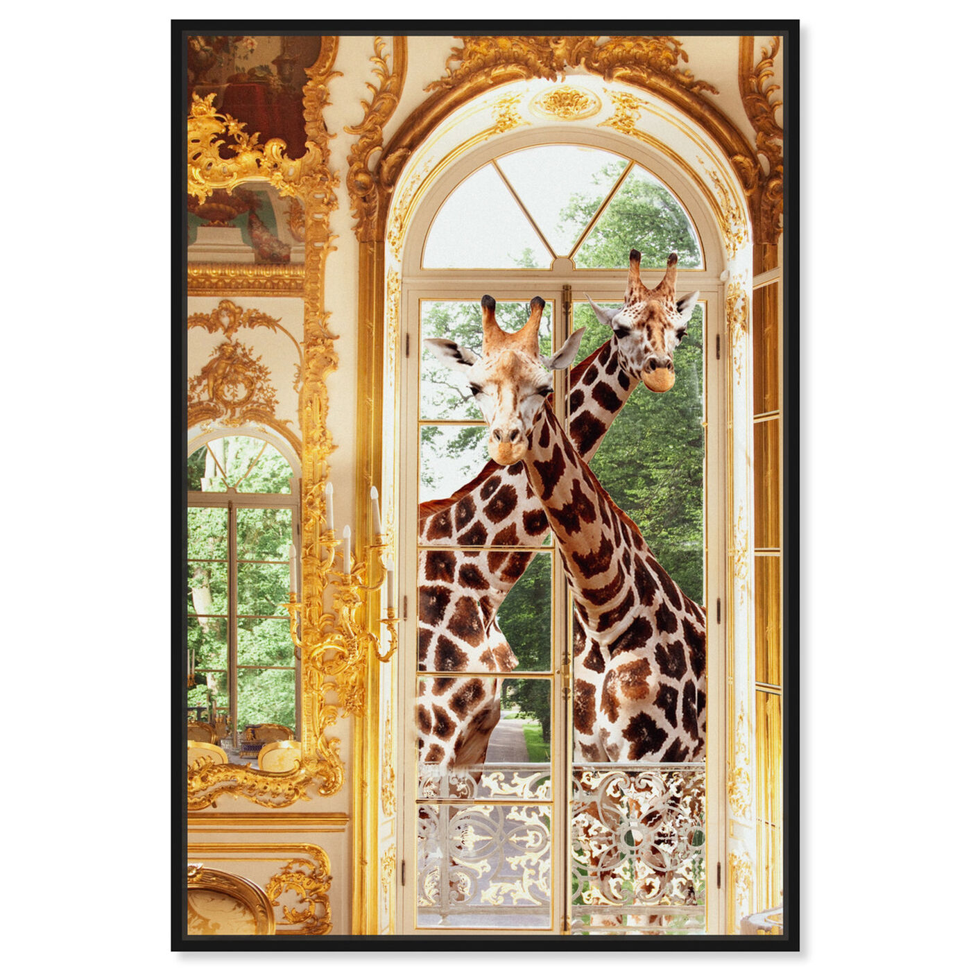 Front view of Giraffes Joined For Breakfast featuring animals and zoo and wild animals art.
