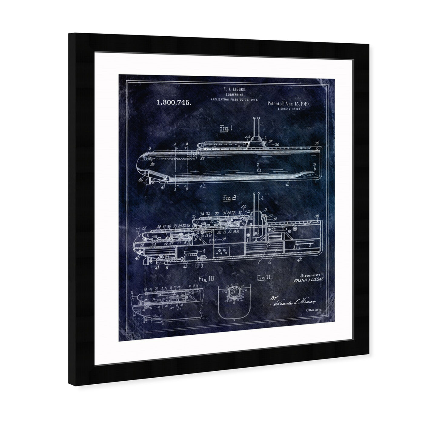 Angled view of Submarine 1919 featuring transportation and submarines art.