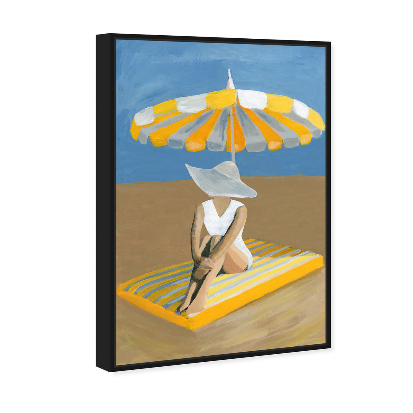 Angled view of Yellow Umbrella featuring fashion and glam and swimsuit art.