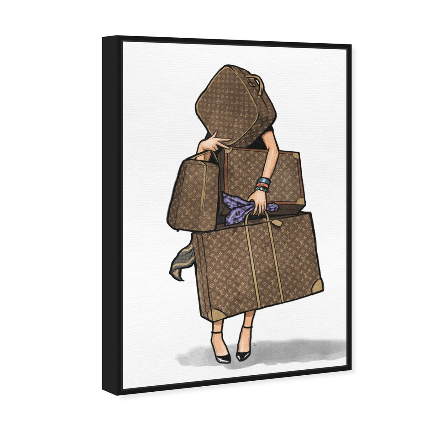 Angled view of Bags, Bags, Bags- Purple featuring fashion and glam and travel essentials art.