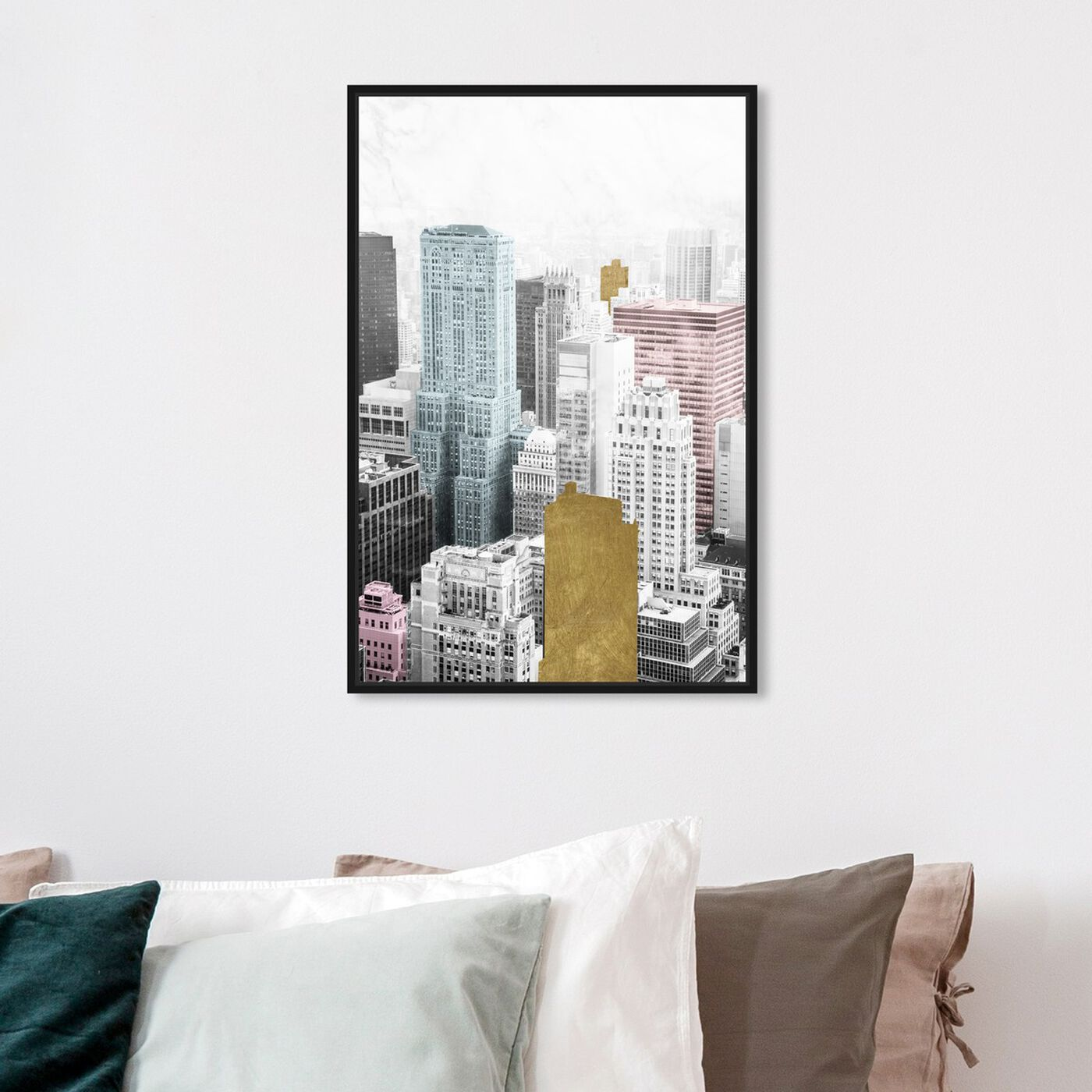 Hanging view of Bright City and Gold featuring cities and skylines and united states cities art.