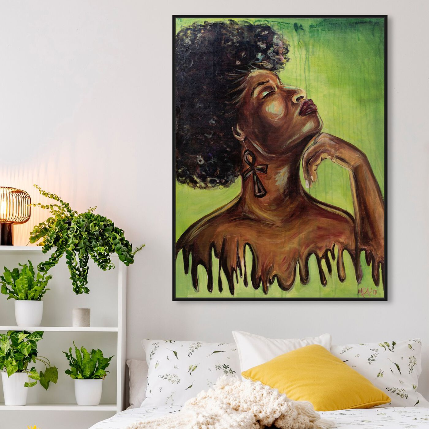 Hanging view of Marissa Anderson - Dripping Melanin featuring people and portraits and portraits art.