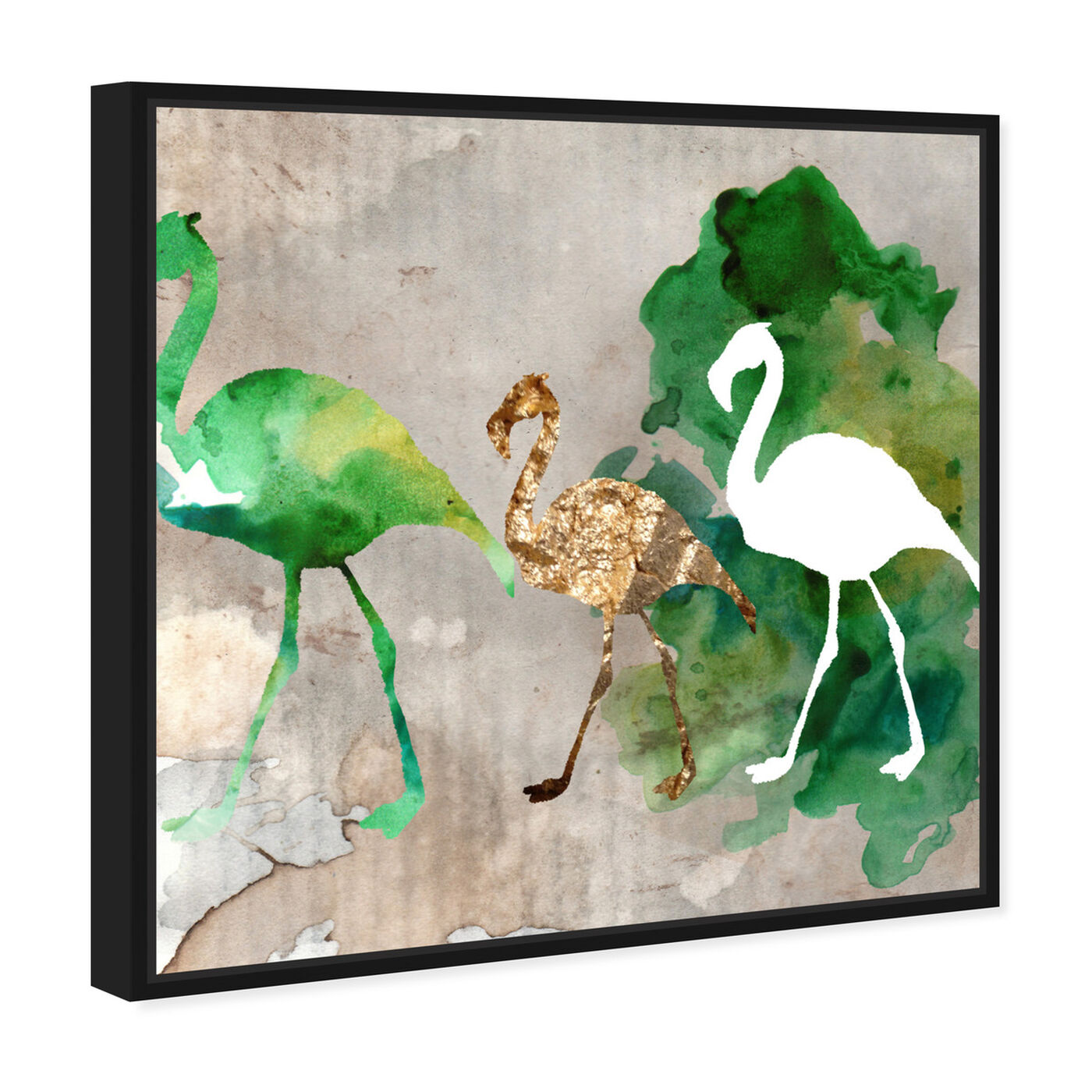 Angled view of Go Flamingo Go featuring animals and birds art.