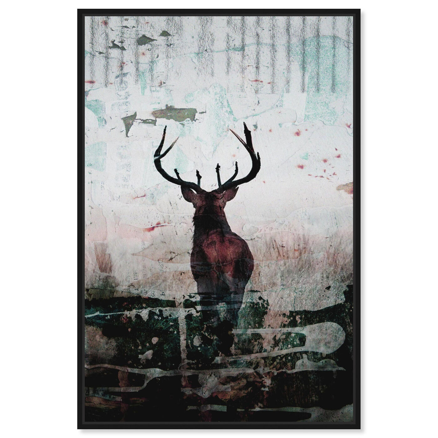 Front view of Red Stag featuring animals and zoo and wild animals art.