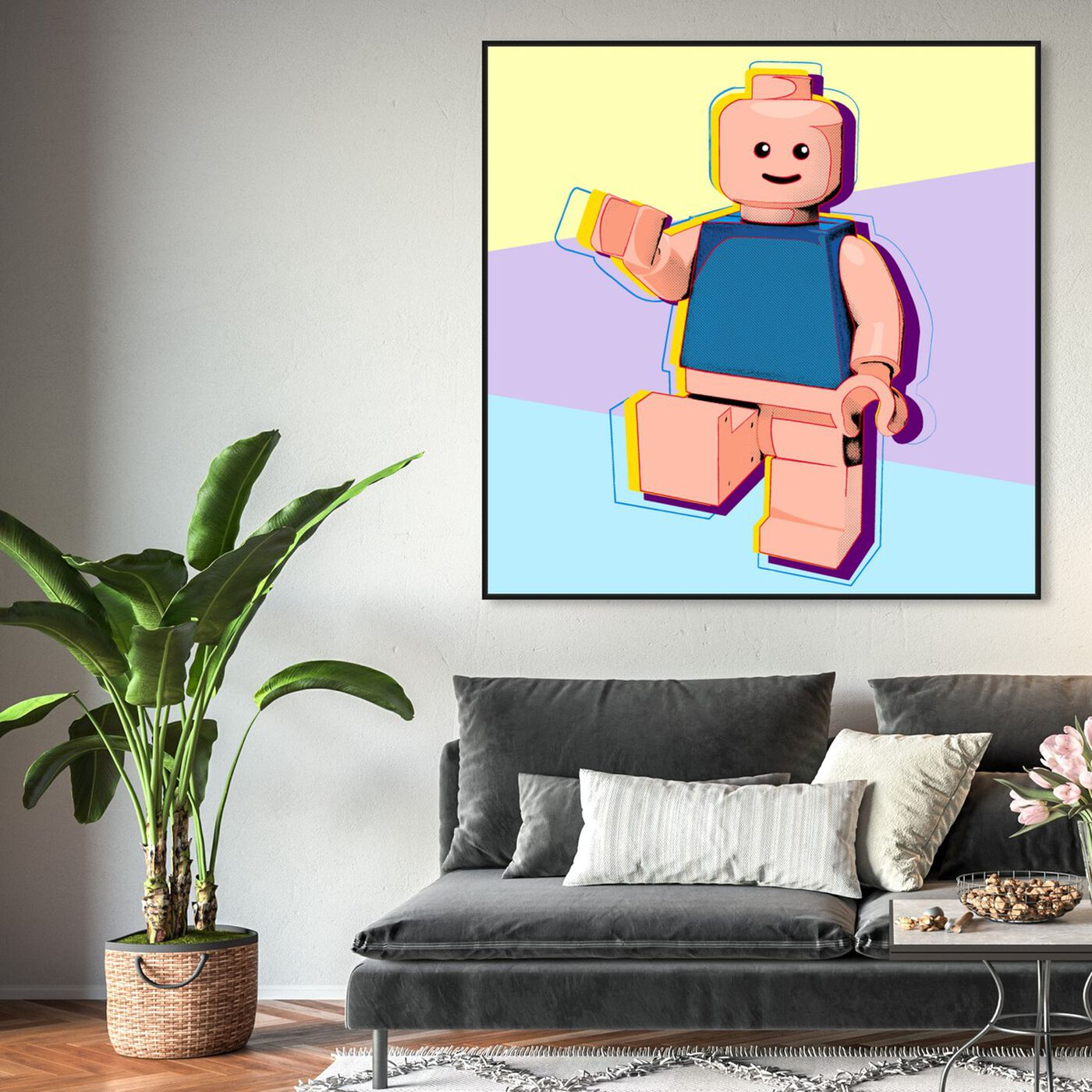 Hanging view of Toy Man featuring symbols and objects and toys art.