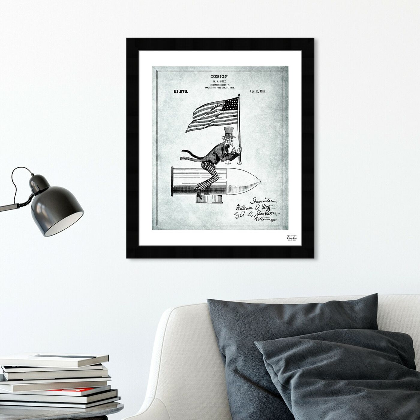 Hanging view of Uncle Sam Radiator Novelty 1918 featuring americana and patriotic and us flags art.