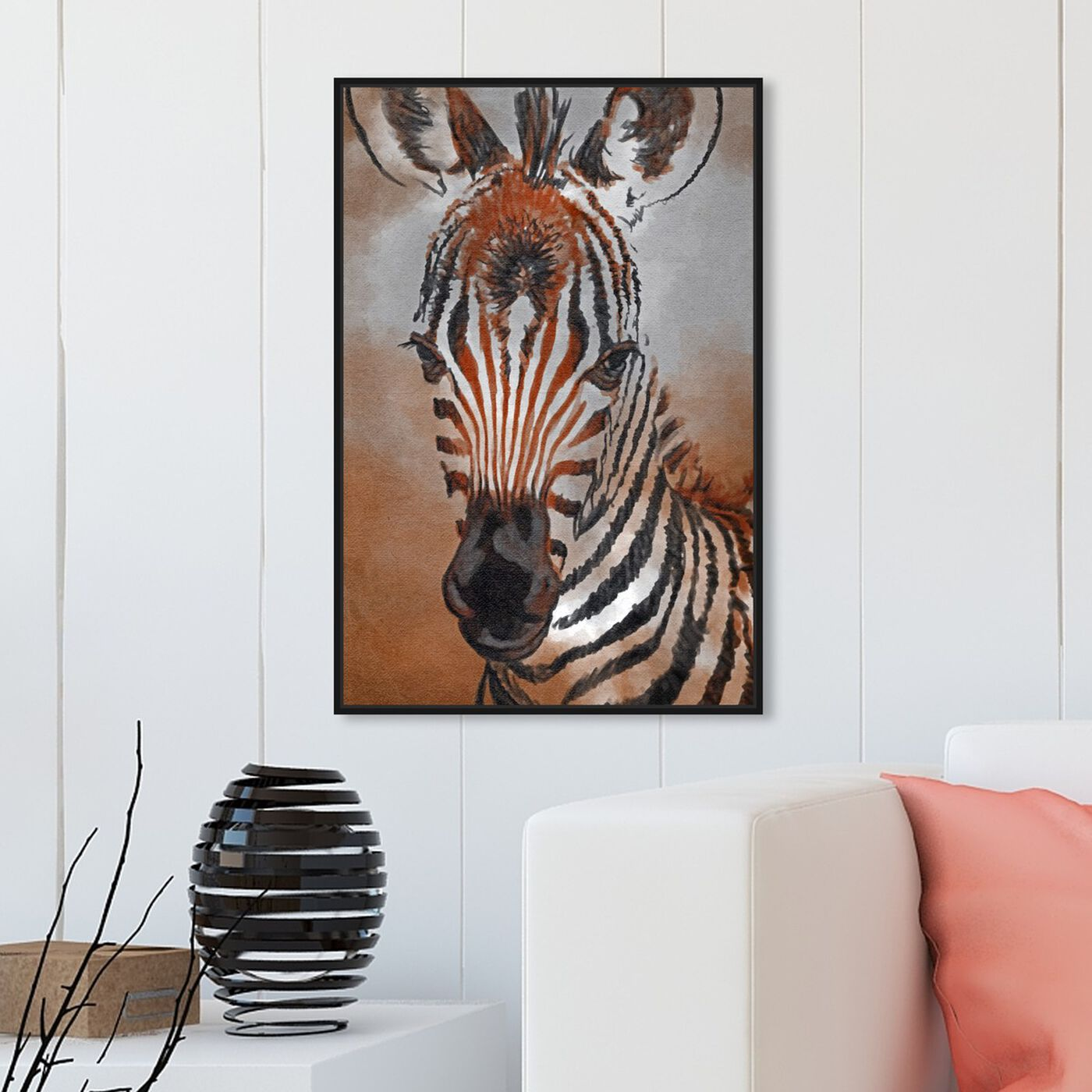 Hanging view of Zebra Colt featuring animals and zoo and wild animals art.