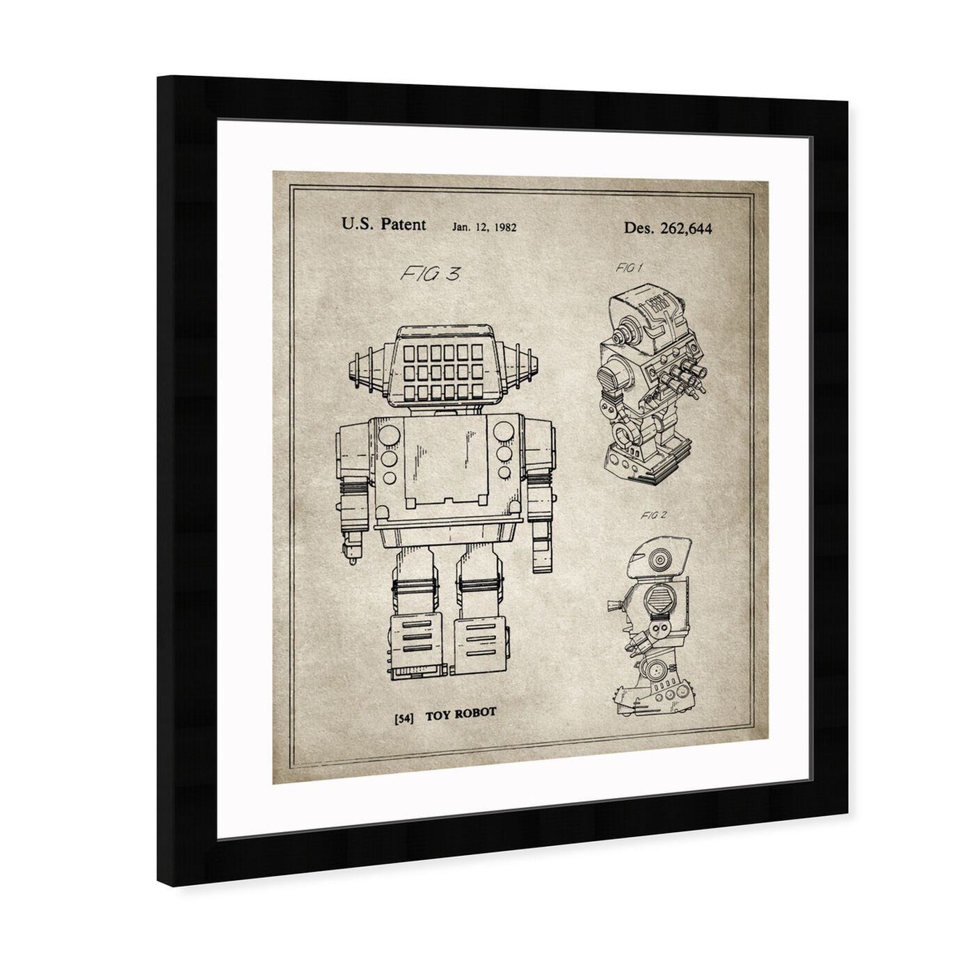 Angled view of Toy Robot, 1982 - Gray featuring entertainment and hobbies and toys art.