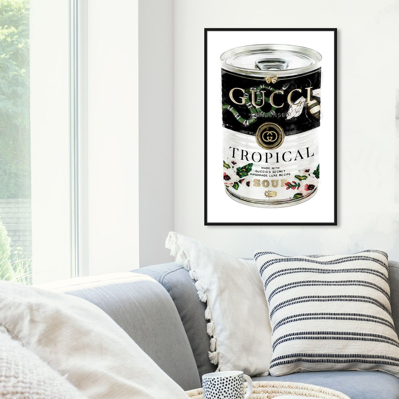 Hanging view of Italian Luxe Soup Emerald featuring fashion and glam and soup can art.