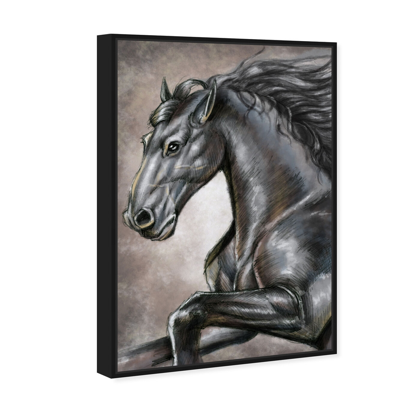 Angled view of Gray Horse featuring animals and farm animals art.
