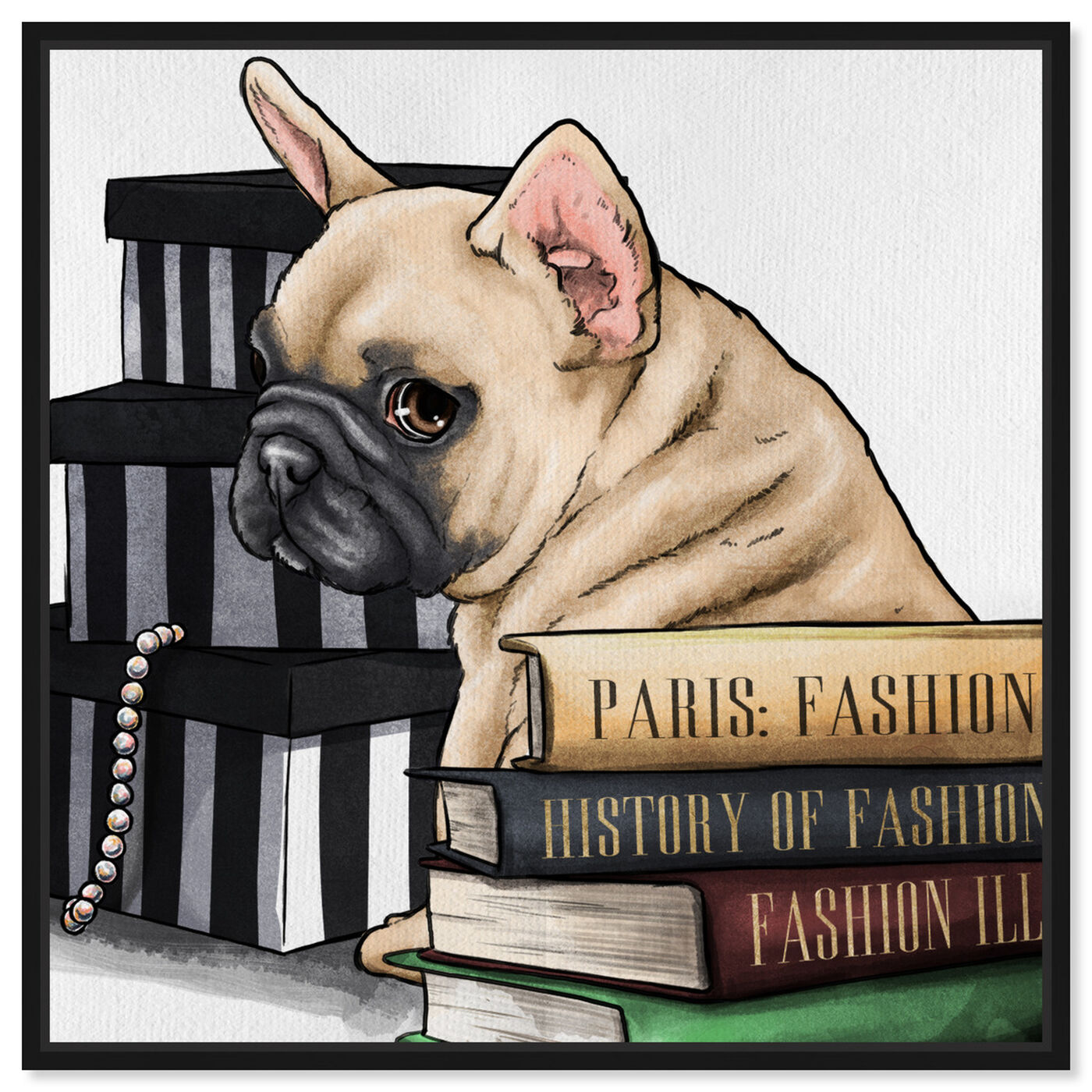 Front view of Fashion Books Frenchie featuring animals and dogs and puppies art.