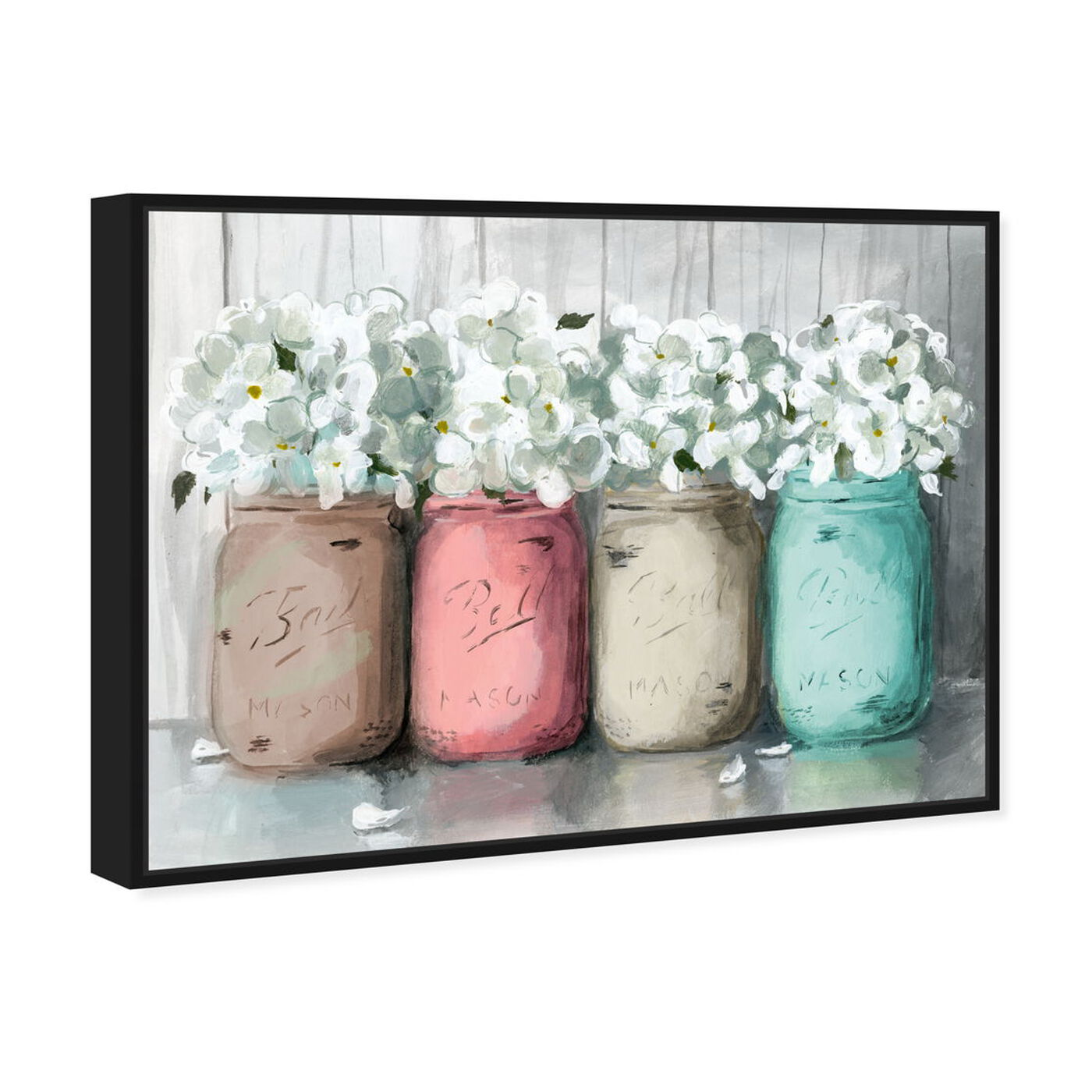 Angled view of Mason Jar Turquoise featuring floral and botanical and florals art.