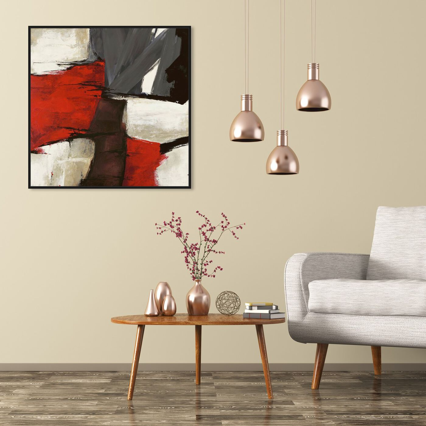 Hanging view of Sai - Rubrum featuring abstract and paint art.