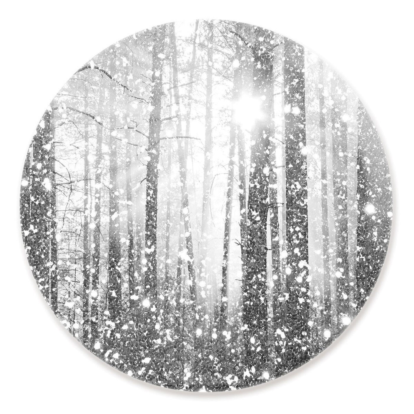 Front view of Magical Forest Silver Round featuring nature and landscape and forest landscapes art.