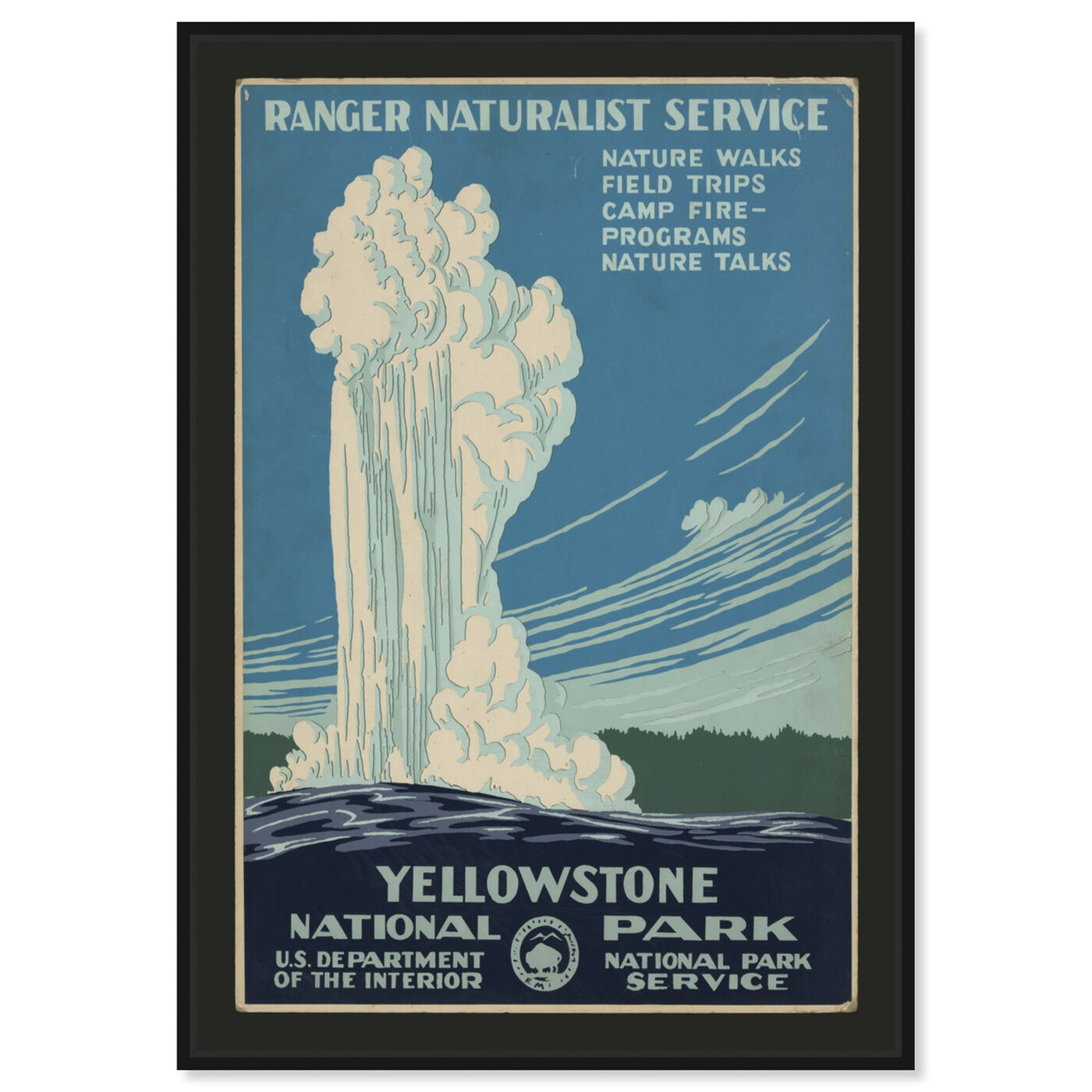 Front view of Yellowstone featuring advertising and posters art.