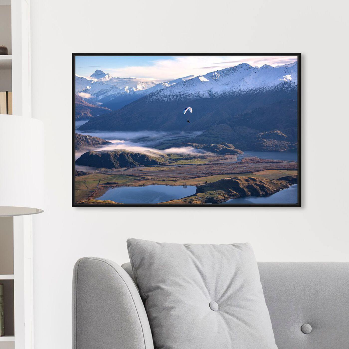 Hanging view of Curro Cardenal - Paragliding Free II featuring nature and landscape and mountains art.
