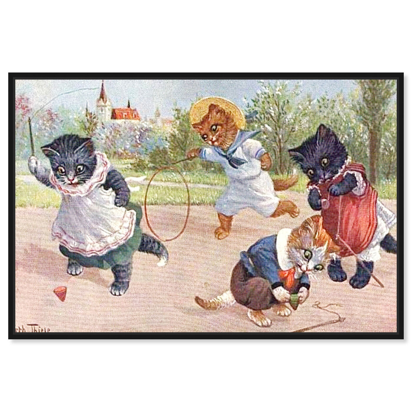 Front view of Kittens Playing in the Park featuring animals and cats and kitties art.