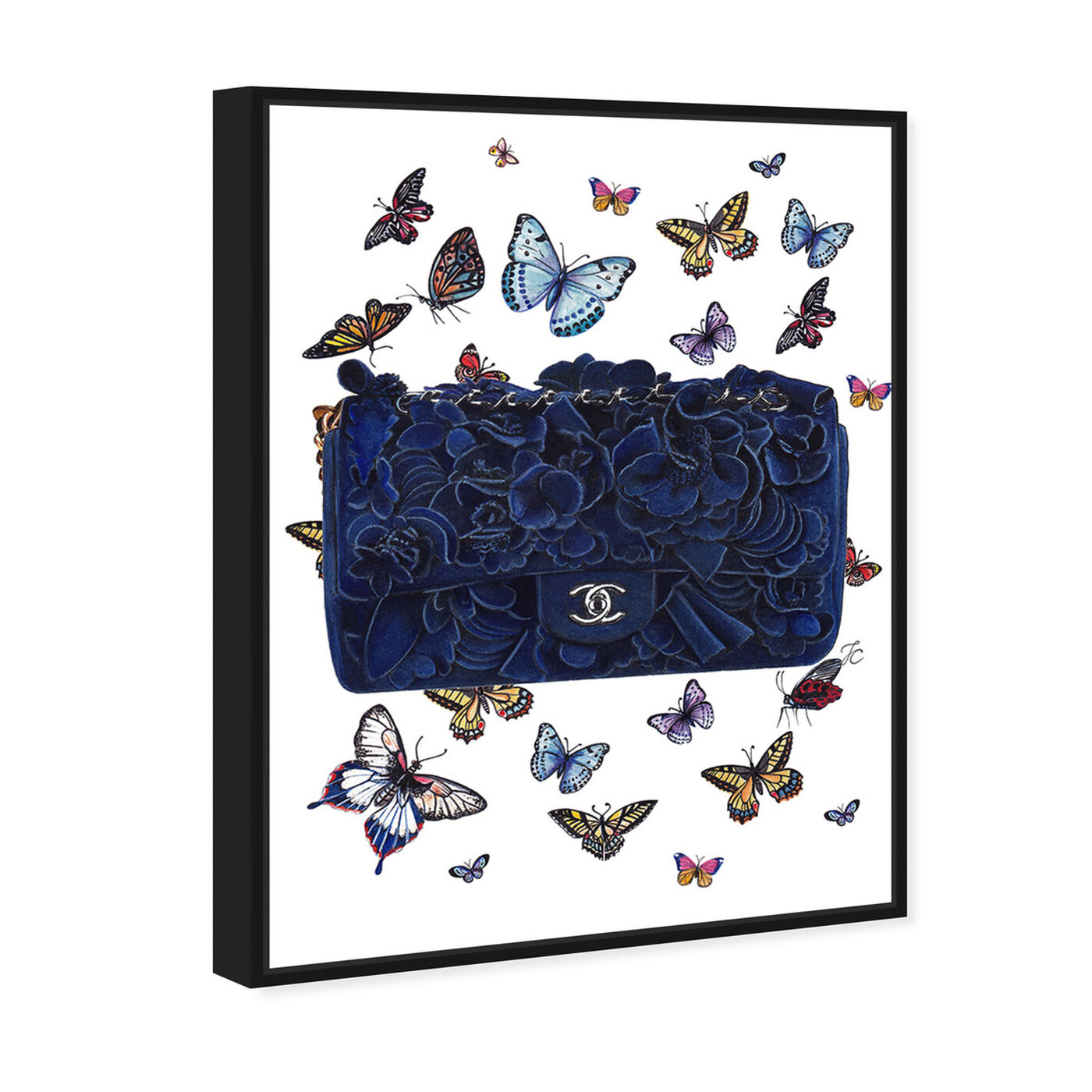 Angled view of Doll Memories - Butterflies Blue Bag featuring fashion and glam and handbags art.