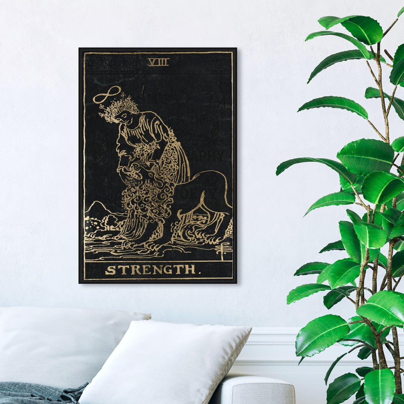 Hanging view of Strength Tarot featuring spiritual and religious and zodiac art.