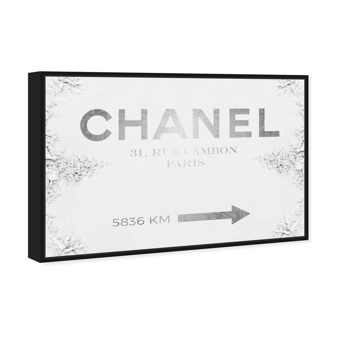 Angled view of Couture Road Sign Classic featuring fashion and glam and road signs art.