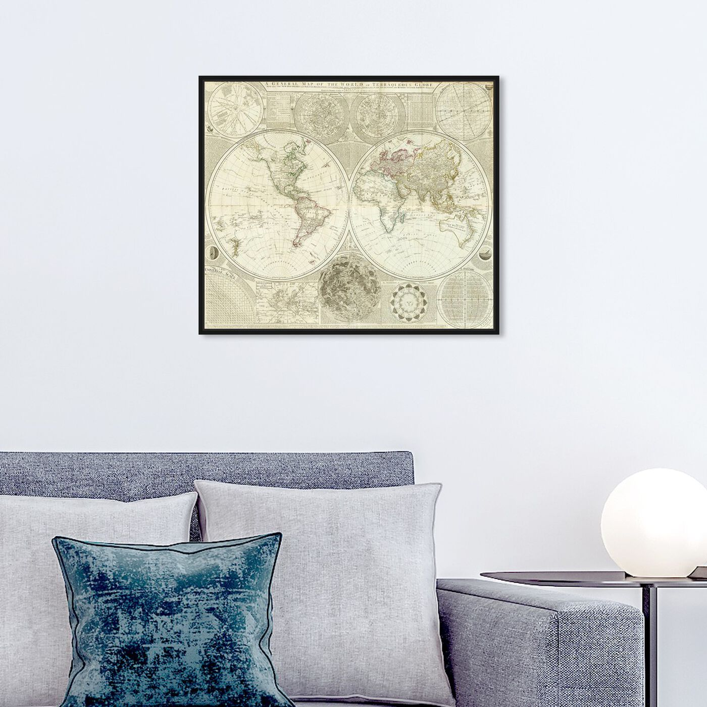 Hanging view of Terraqueous Globe Map 1787 featuring maps and flags and world maps art.