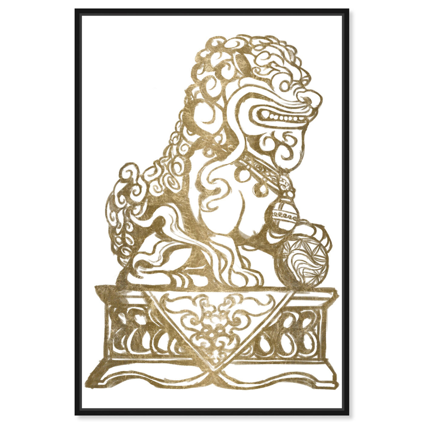 Front view of Foo Dog Gold II featuring symbols and objects and symbols art.