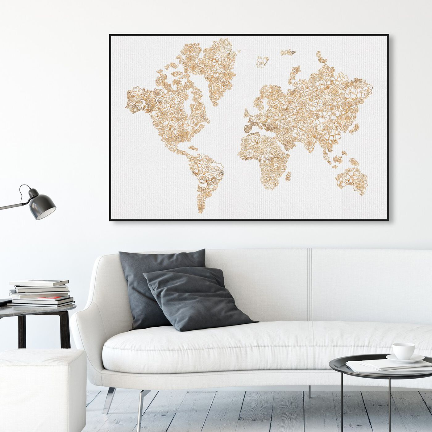 Hanging view of Mapamundi Gold Floral featuring maps and flags and world maps art.