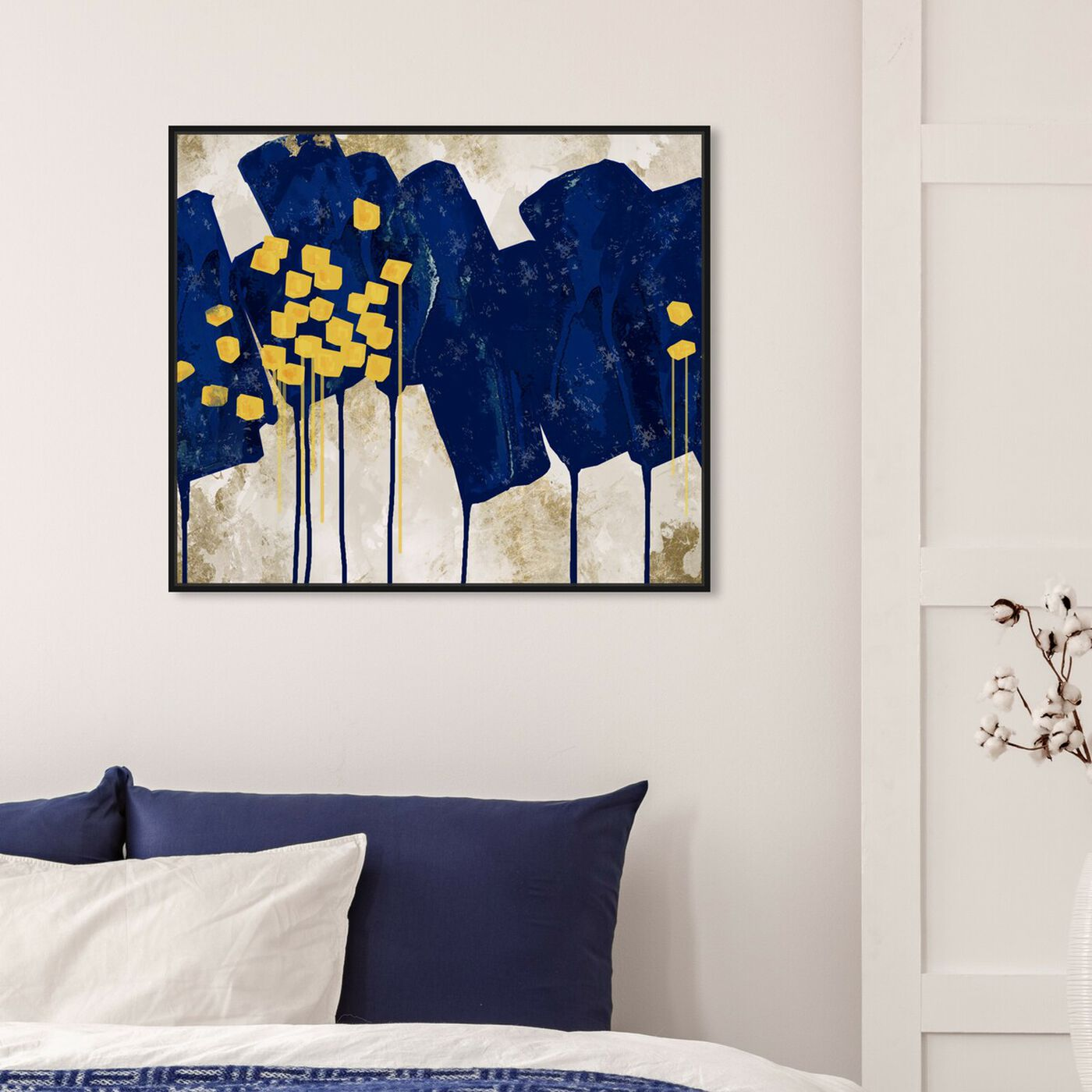Hanging view of Sapphire Movement I featuring abstract and paint art.