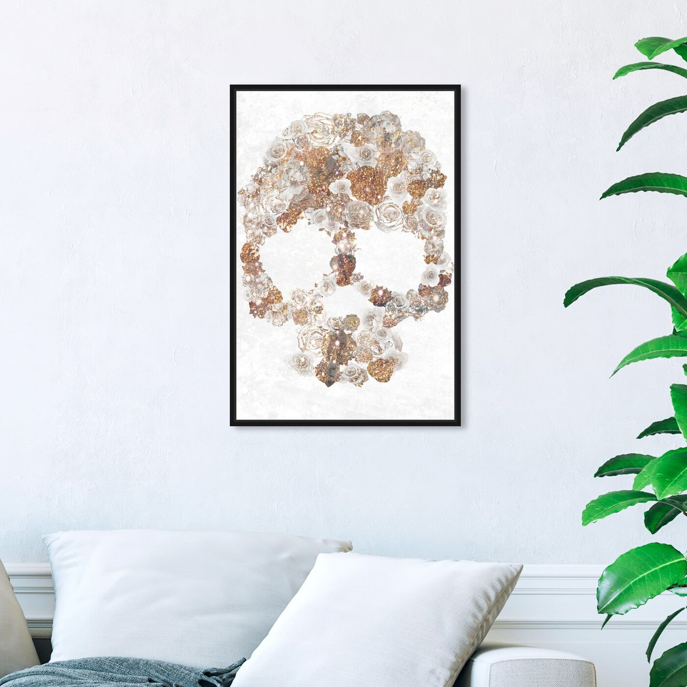 Hanging view of Gold Dust Floral Skull featuring symbols and objects and skull art.